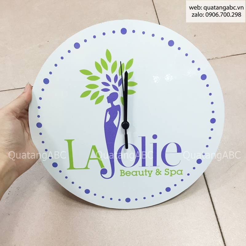 INLOGO IN ĐỒNG HỒ NGHỆ THUẬT CHO LAJOLIE BEAUTY & SPA